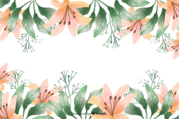 Orange lily flowers frame background with watercolor design Free Vector