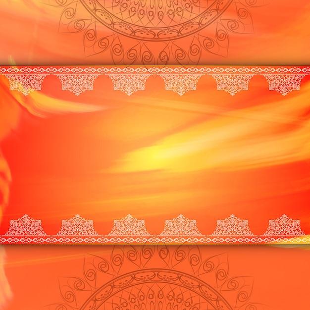 Vertical Flower Pattern Orange luxury mandala ...