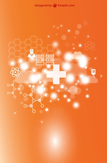 Orange medical background with white crosses Free Vector