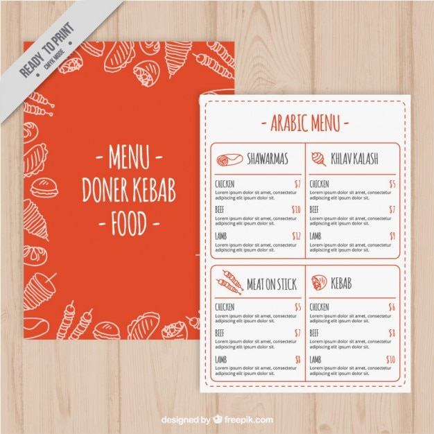 Orange menu template with sketches arabic food Vector – Free Food Menu Template
