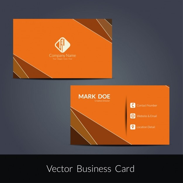Orange modern business card template Free Vector