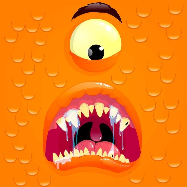驚きの顔を持つオレンジモンスターアバター Premiumベクター