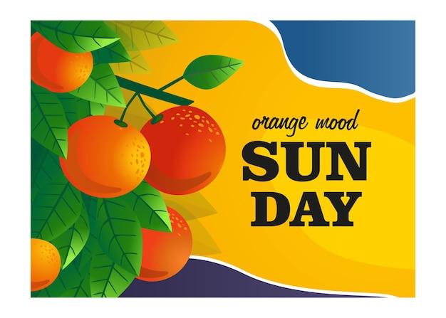 オレンジムードカバーデザイン。果物とオレンジの木の枝は、テキストとイラストをベクトルします。新鮮なバーのポスターやバナーのデザインのための食べ物や飲み物のコンセプト 無料ベクター