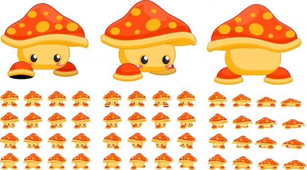 Orange mushroom game sprites Premium Vector