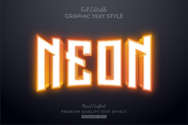 Orange neon editable text effect Premium Vector