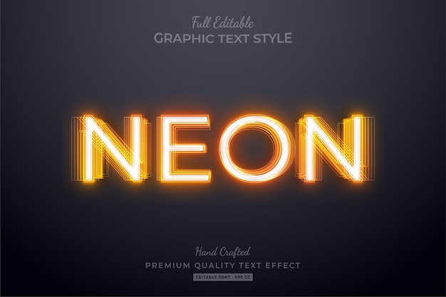 Orange neon editable text style effect Premium Vector