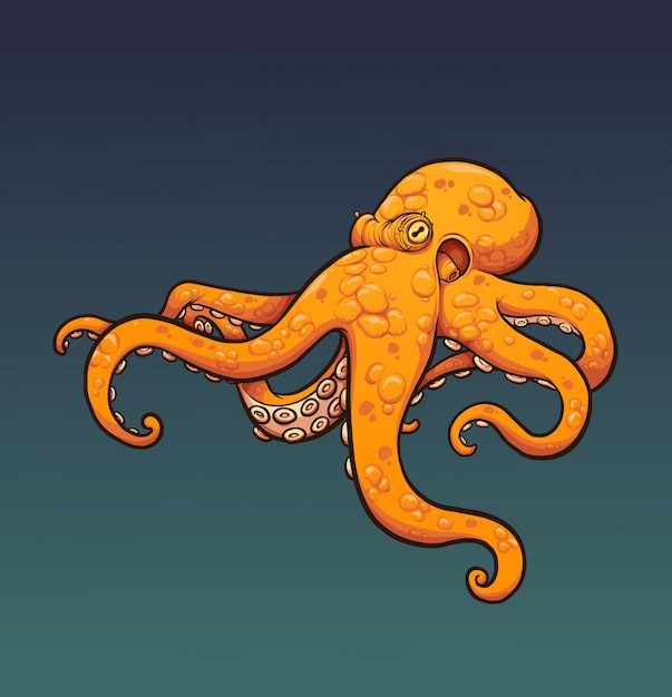 Orange octopus Premium Vector