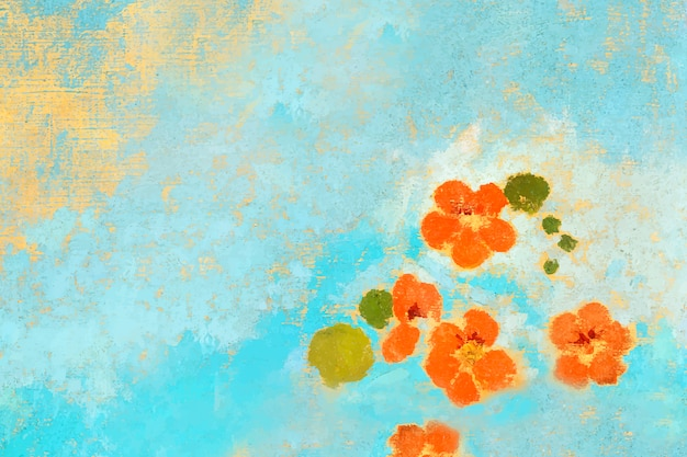 Orange oil painted flowers Free Vector