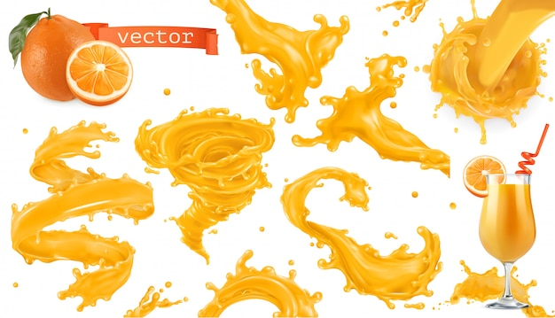 Orange paint splash. mango, pineapple, papaya juice. 3d realistic icon set Premium Vector