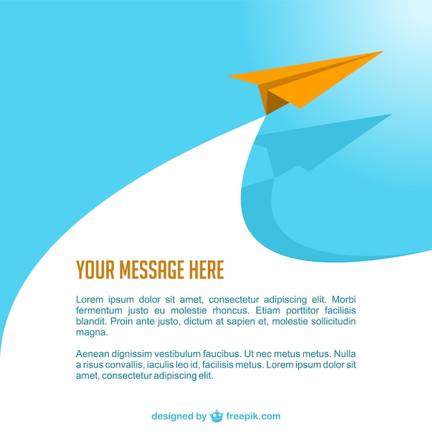 Orange paper airplane Free Vector