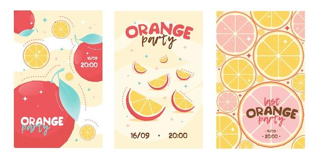 Оранжевый пригласительный билет на вечеринку. лимонад, фрукты Бесплатные векторы