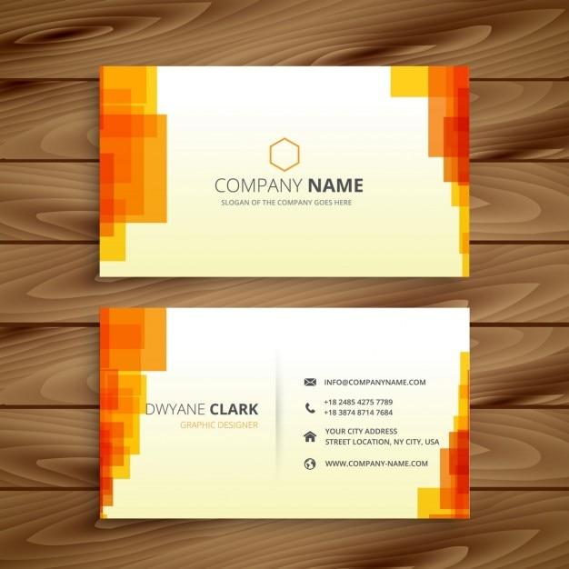 Orange pixelated business card Free Vector