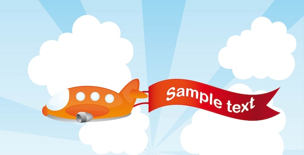 Orange plane cartoon with advertising vector illustration Premium Vector