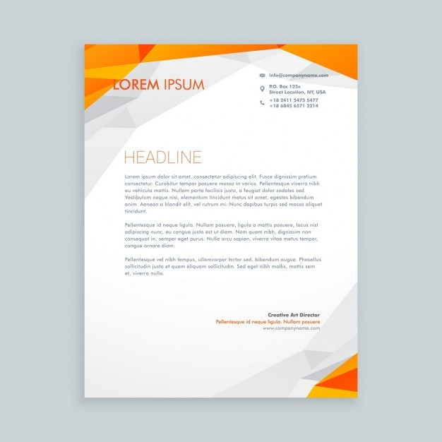 Orange Polygonal Business Letterhead Vector  Free Download