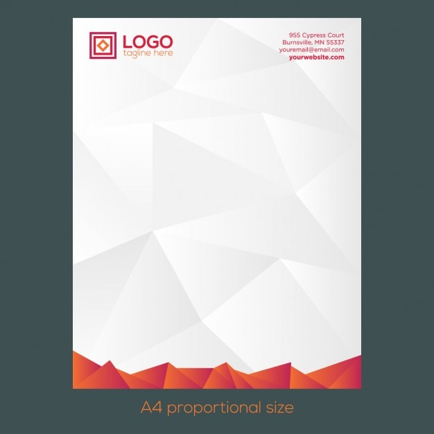 Free Vector Printable Stationery Design Template: Orange Polygonal Letterhead Vector