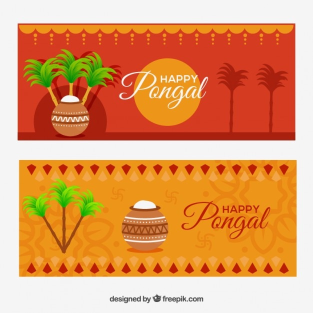 Orange pongal banners Free Vector