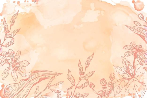 손으로 그린 꽃 배경으로 오렌지 파우더 파스텔 무료 벡터