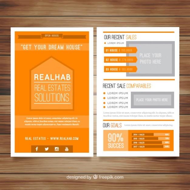 Orange real estate brochure Free Vector