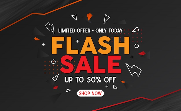 Orange and red flash sale banner template background Premium Vector