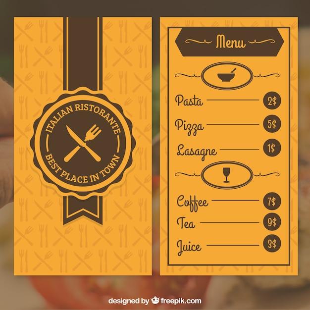 Orange restaurant menu Vector – Restaurant Menu