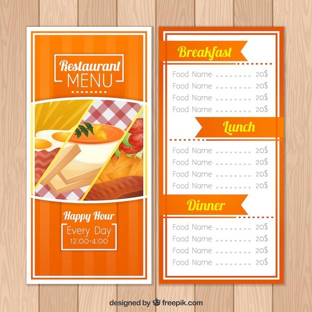 Orange restaurant menu