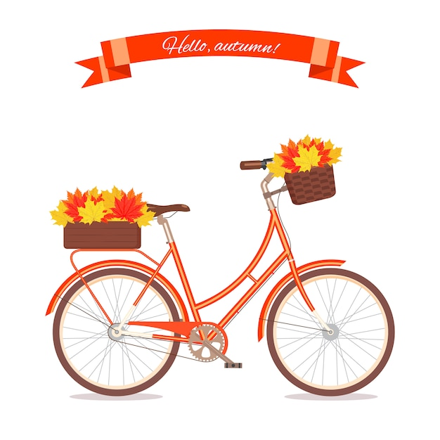 Orange retro bicycle with autumn leaves in floral basket and box on trunk. color bike isolated on white background. flat vector illustration. cycle with leaves for congratulation banner, invite, card. Premium Vector