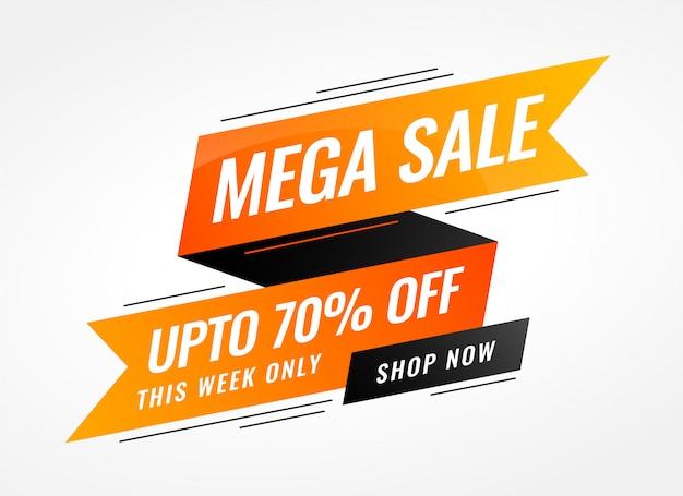 Orange ribbon sale banner in memphis style Free Vector