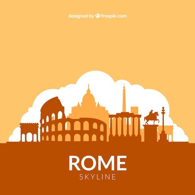 Orange skyline design of rome Free Vector
