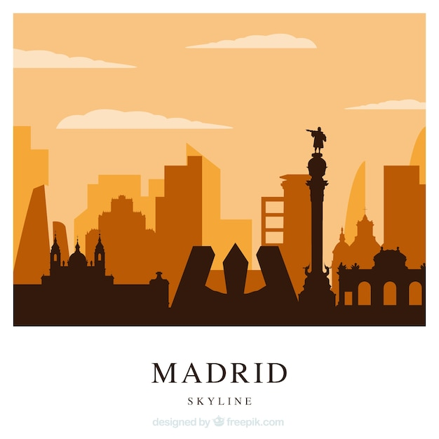 Orange skyline of madrid Free Vector