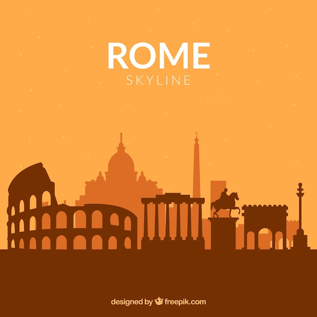 Orange skyline of rome Free Vector