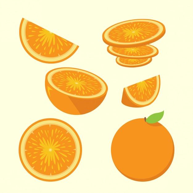 Orange slices illustration set Premium Vector
