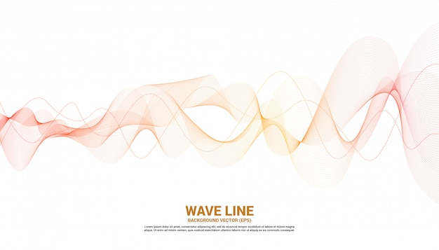 Orange sound wave line curve on white background. element for theme technology futuristic vector Premium Vector