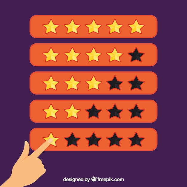 Orange star rating concept with finger Free Vector