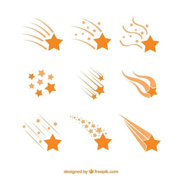 Orange star trail collection Free Vector