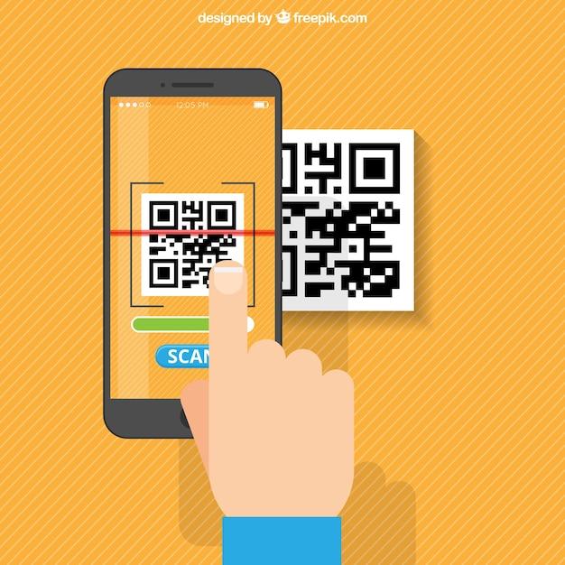 Orange striped background of mobile scanning qr code Free Vector