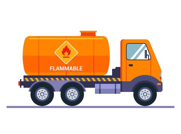 Orange tanker truck carries gasoline. the inscription caution is flammable. transportation of liquid cargo. Premium Vector
