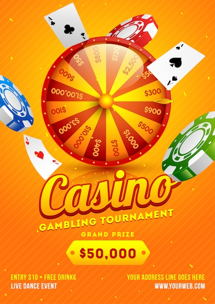 Orange template or flyer design with 3d roulette wheel Premium Vector