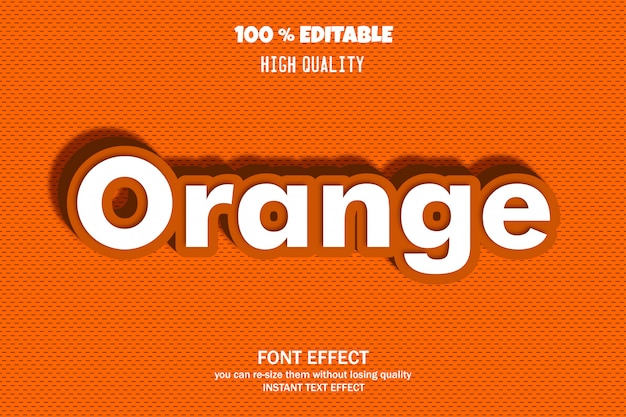 Orange text, editable font effect Premium Vector