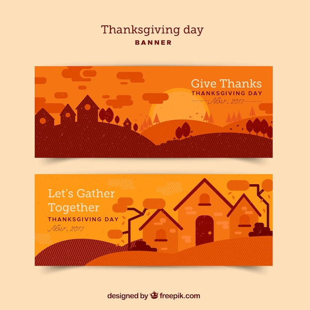 Orange thanksgiving banners with\ landscape