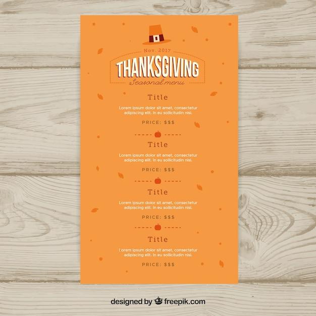 Orange thanksgiving menu template