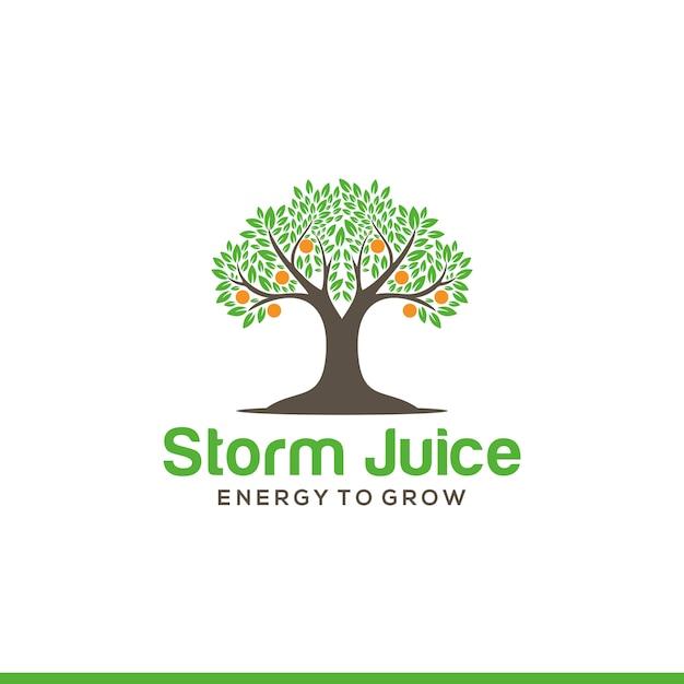 オレンジの木のロゴのテンプレート Premiumベクター
