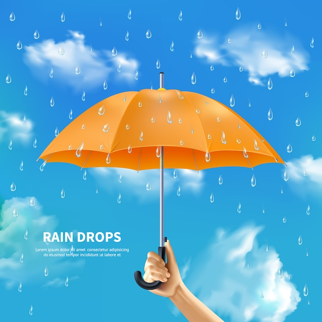 Orange umbrella on cloudy sky background Free Vector