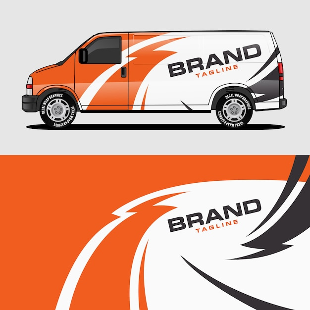 Orange van wrap design wrapping sticker and decal design Premium Vector
