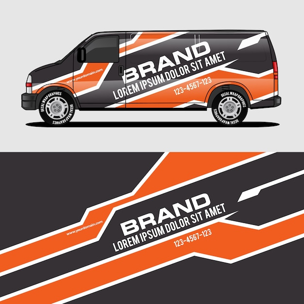Orange van wrap design wrapping sticker and decal design Premium Vector