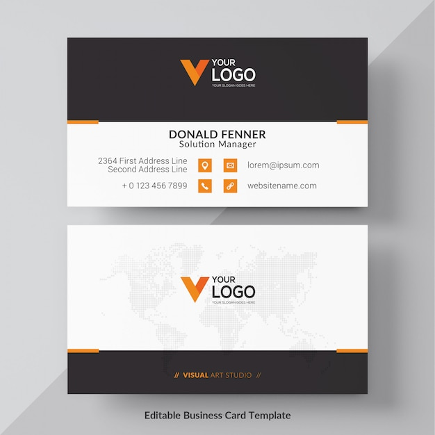 Orange visit card free vector Free Vector