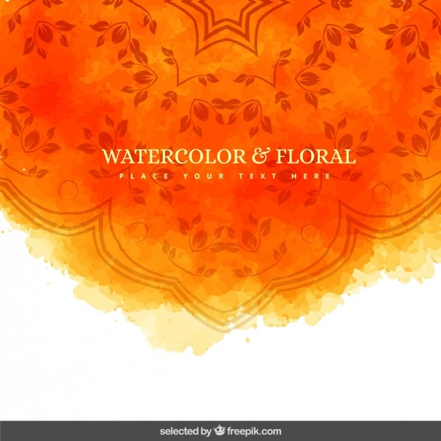 Orange watercolor and floral background Free Vector