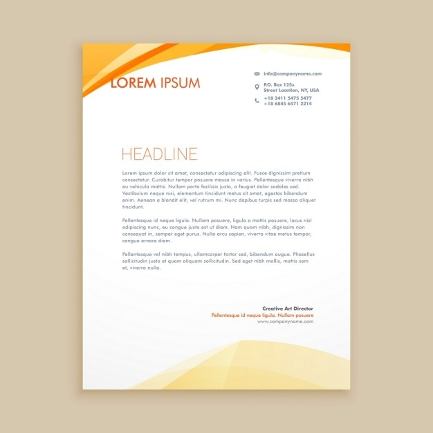 Orange waves letterhead Free Vector