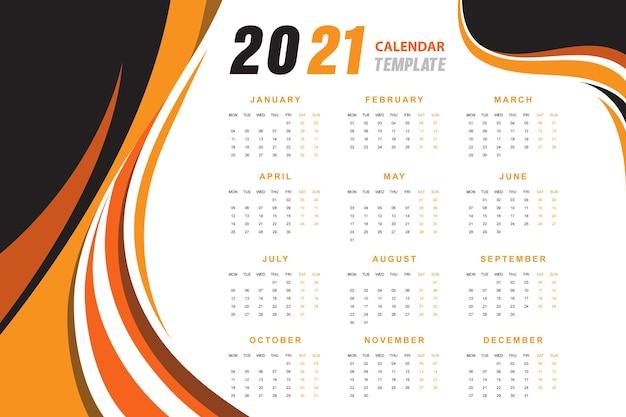 Orange wavy abstract calendar 2021 Free Vector