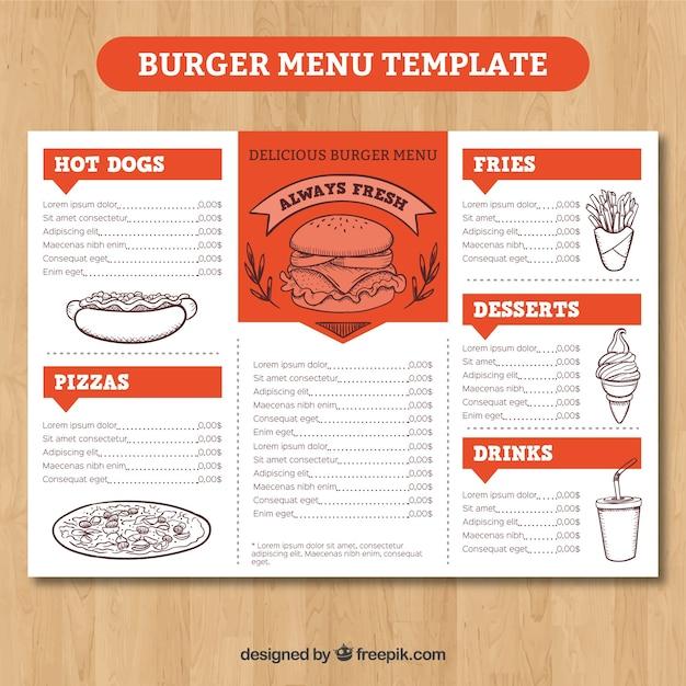 Orange And White Burger Menu Template Vector