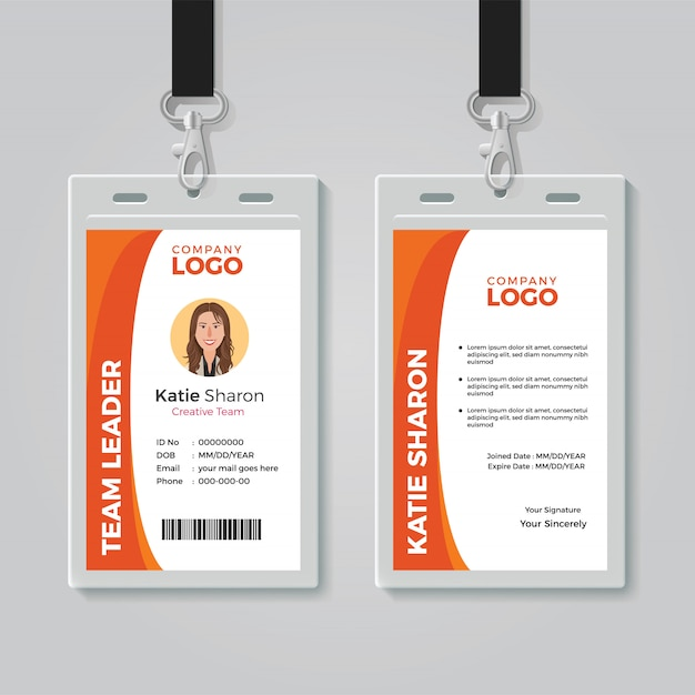 orange and white corporate id card template vector